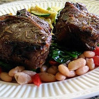 Broiled Lamb Chops w/ White Beans & Spinach.