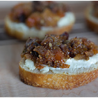 Apricot and Fig Tapenade on Goat Cheese Crostini.