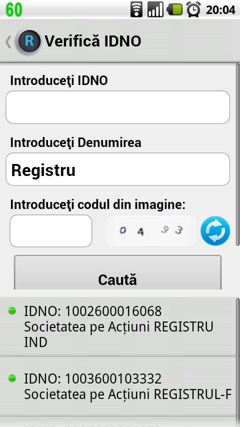 Registru - screenshot