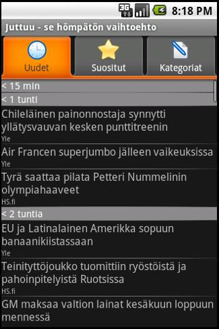 Juttuu (a finnish news client) - screenshot