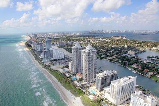 Miami-Beach-Aerial-shoreline - An aerial view of Miami Beach.