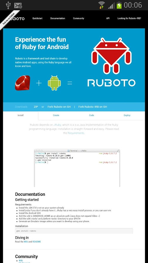 Ruboto Core- screenshot