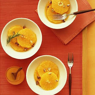Sliced Oranges with Orange-Flower Syrup and Candied Hazelnuts.