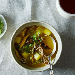 Turmeric-Miso Soup with Shiitakes, Turnips, and Soba Noodles.
