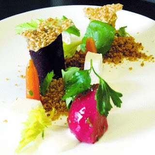Beet and Goat Cheese Salad With Beet Soil and Citrus Yogurt