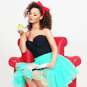 Temptation by Costi Manolache - People Fashion ( shoes, fotoevent88, green, nice, cute, magazine, chair, curly, red, cyan, woman, dress, lips, read, muffin, hair, fashion, urban portrait, urban fashion, unique outfit )