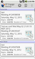 Screenshot of BT Engage Meeting Mobile