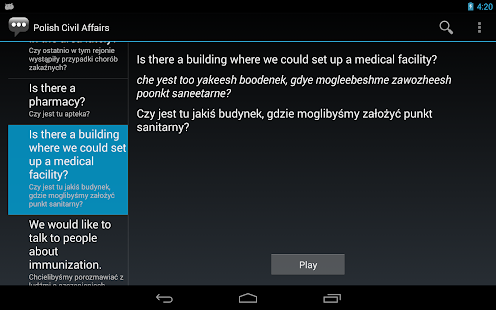 Polish Civil Affairs Phrases - screenshot thumbnail