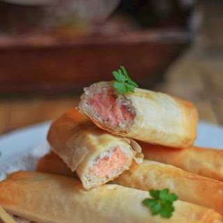 Salmon and Coconut Rolls with Oriental Sauce.