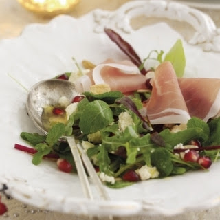 Christmas Parma Ham Salad with Pomegranate, Mint, Almonds and White Stilton