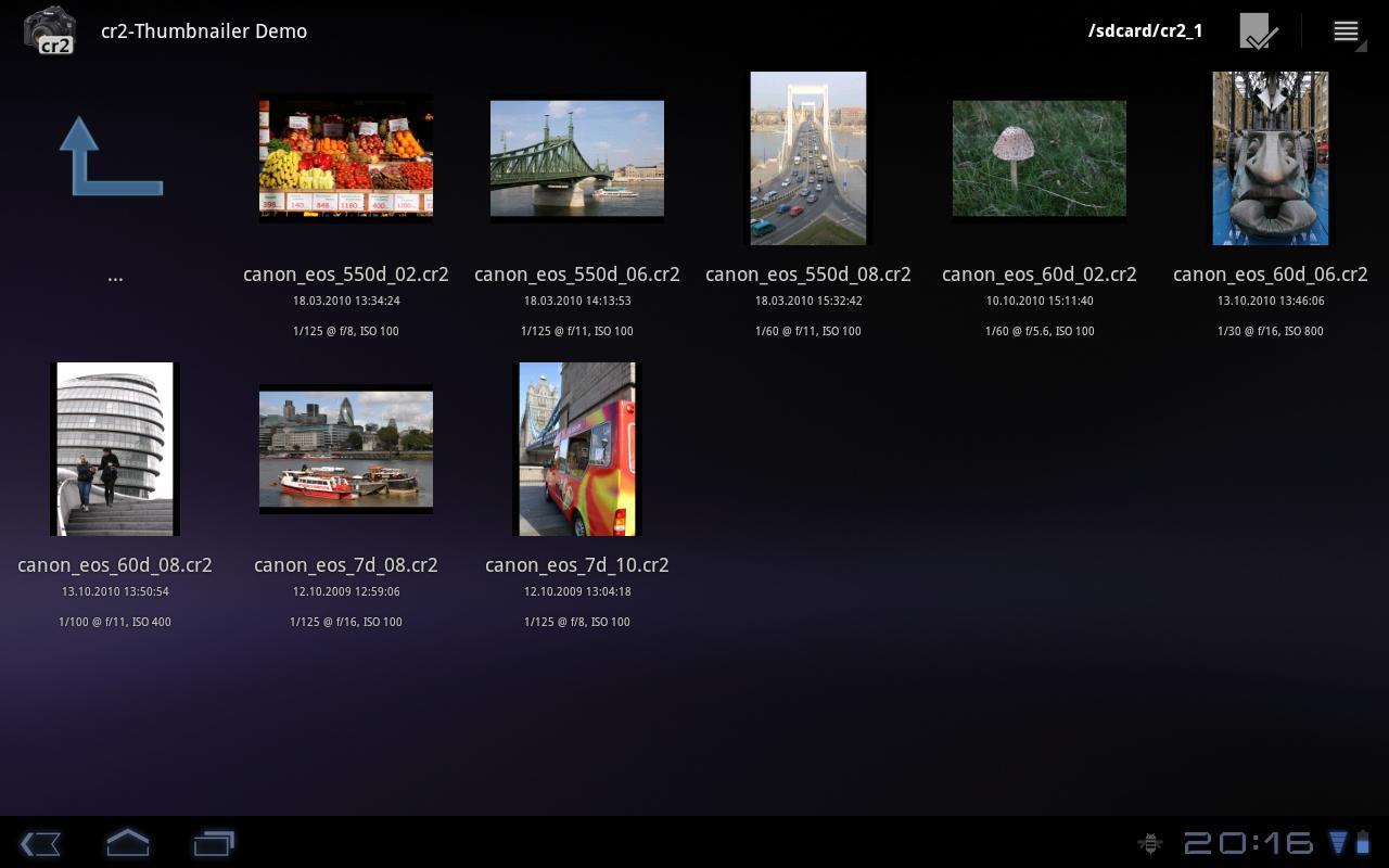 cr2-Thumbnailer Demo- screenshot