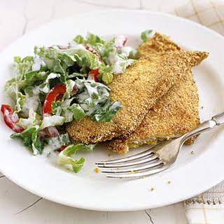 Crispy Chicken Cutlets with Creamy Romaine Salad.