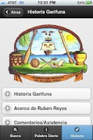 Screenshot of Garifuna-Español Diccionario