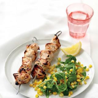 Marinated Chicken Kebabs and Corn Salad