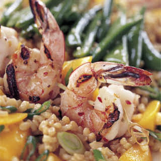 Spicy Grilled Shrimp with Rice and Mango Salad and Sesame Sugar Snap Peas.