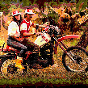 Forest Ride by Pablo Barilari - Digital Art People ( couple in bike, motorcycle, forest )