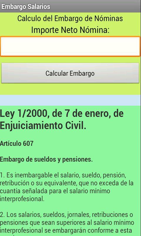 Cálculo Embargo de Nóminas- screenshot