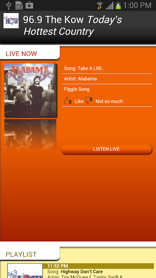 KKOW-FM Streaming Media Player - screenshot
