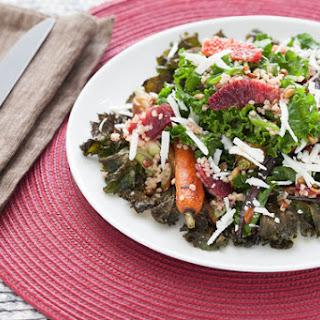 Roasted Kale & Heirloom Carrot Salad with Pepitas, Ricotta Salata & Champagne-Cardamom Vinaigrette.
