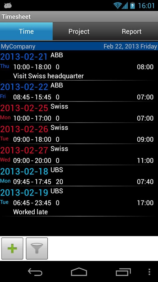 Timesheet 2 - screenshot