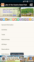 Screenshot of MO State Parks Guide