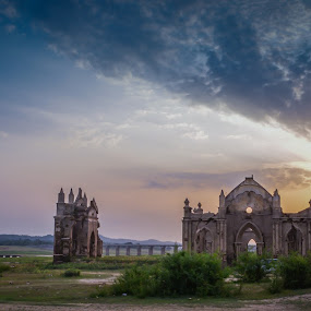 Sunset @ Church Ruins  by Adit Lal - Landscapes Sunsets & Sunrises ( water, church, sunset, landscape, sun )