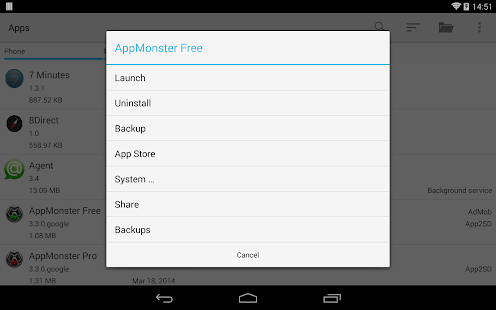 AppMonster Free Backup Restore Capture d'écran