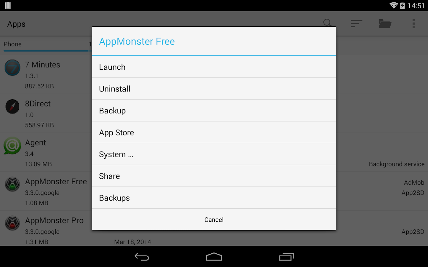 AppMonster Free Backup Restore – Capture d'écran