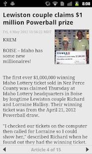 Idaho lottery numbers fromKTVB - screenshot thumbnail