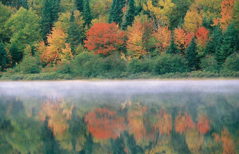 Fall colors and a morning mist hover over a lake in Parc national du Mont-Tremblant in the Laurentides region of Quebec.