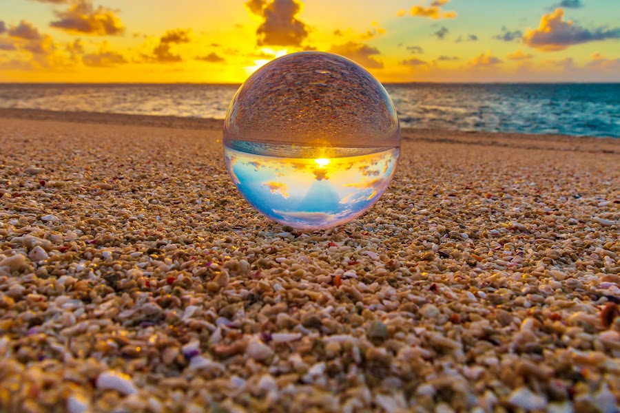 Globe At Sunrise by Colin Davis - Artistic Objects Glass ( sunrise, beach, globe,  )