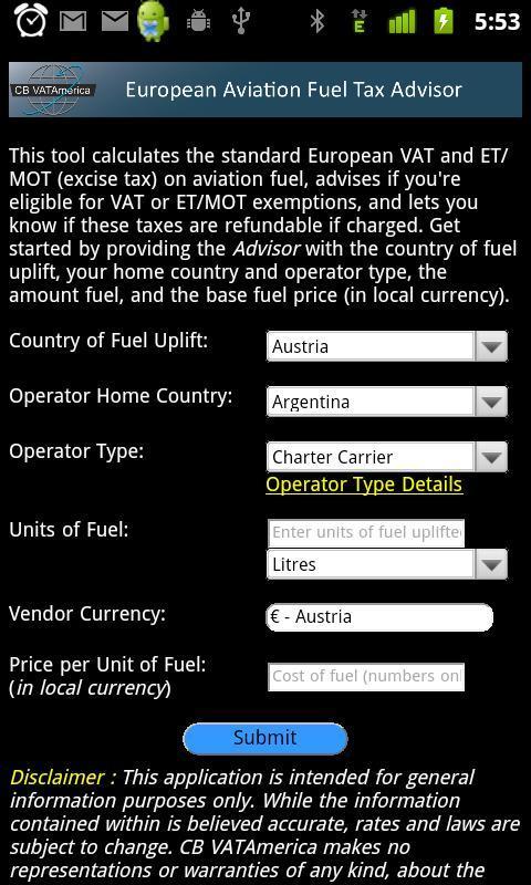EuropeanAviationFuelTaxAdvisor- screenshot