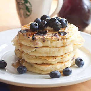 Light and Fluffy Blueberry Pancakes.