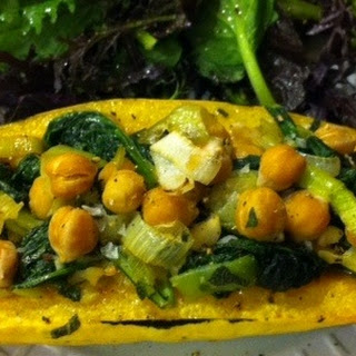 Stuffed Delicata Squash with Kale, Leeks and Chickpeas.