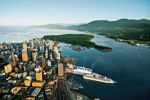 An aerial view of the Vancouver cruise ship terminal.