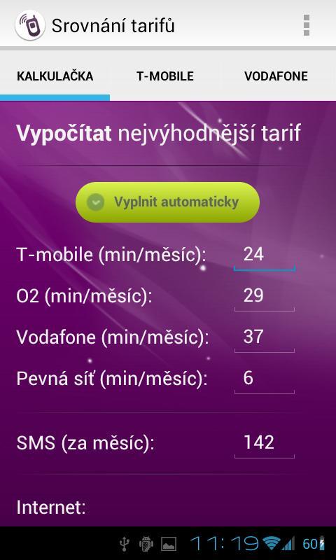 Srovnání tarifů- screenshot
