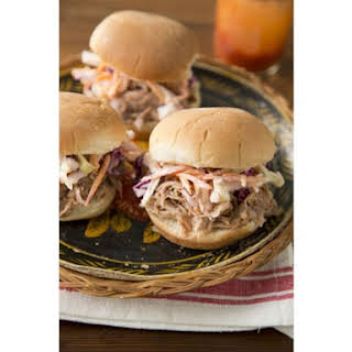 Slow Cooker Pulled Pork Sandwiches and Buttermilk Coleslaw.