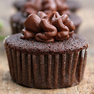 Homemade Chocolate Cupcakes with Frosting.
