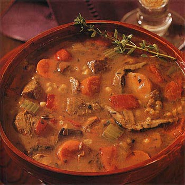 Beef Barley Soup with Wild Mushrooms and Parsnips