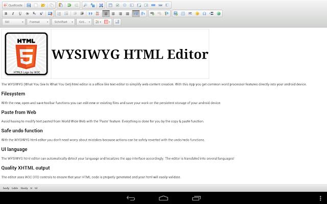 WYSIWYG HTML Editor - screenshot