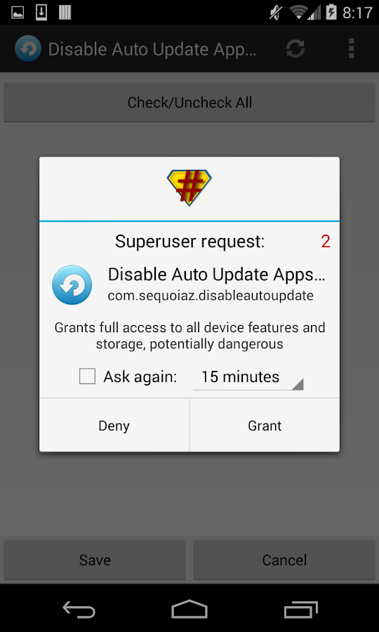 Disable Auto Update Apps - screenshot