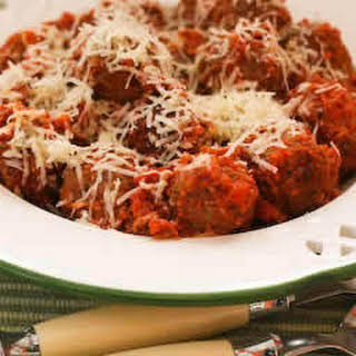 Beef and Sausage Meatballs in Tomato Sauce.