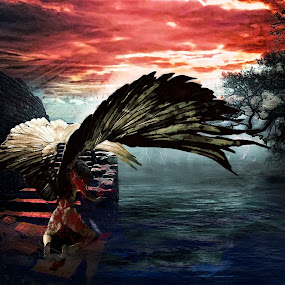 FallenDiva by Felix M - Digital Art People ( water, wounded, sad, hell, ocean, blood, diva, storm, angel, girl, nature, wings, trees )