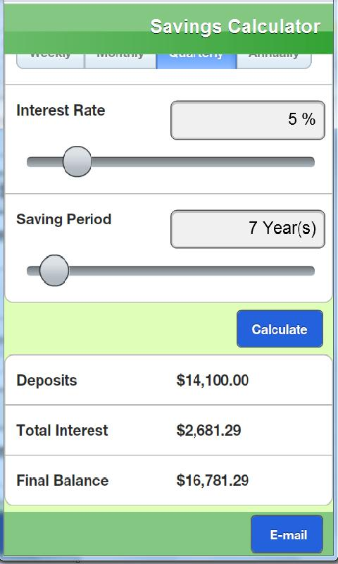 Savings calculator Lite - screenshot