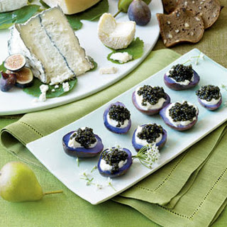 Sour Cream and Caviar Topped Purple Potatoes.