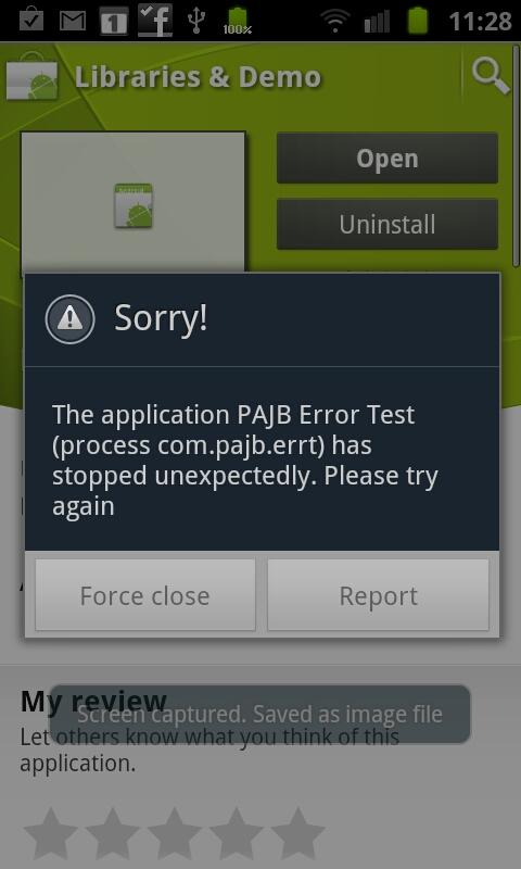 PAJB Error Test - screenshot