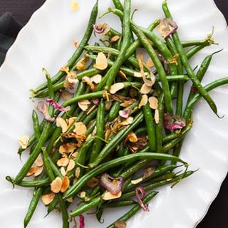 Haricots Verts with Toasted Almonds and Caramelized Shallots