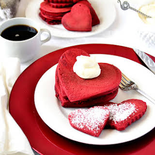 Red Velvet Pancakes with Sweet Cream Cheese Topping.