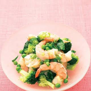 Lemony Sauteed Shrimp with Broccoli and Peas.