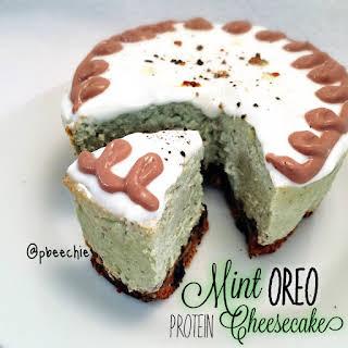 Mint Oreo Protein Cheesecake.